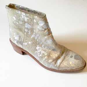 Loeffler Randall Tan Silver Stacked Ankle Bootie